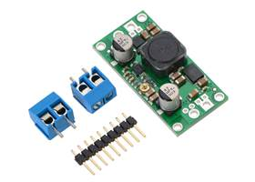 Pololu adjustable step-up/step-down voltage regulator S18V20AHV with included optional terminal blocks and header pins