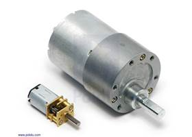 37D mm metal gearmotor next to a micro metal gearmotor for size comparison.