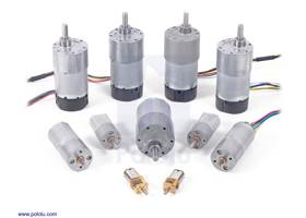 An assortment of Pololu metal gearmotors.