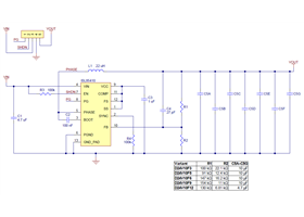 Schematic diagram for the Pololu D24V10Fx family of 1 A step-down voltage regulators