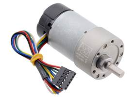 6.3:1 Metal Gearmotor 37Dx65L mm 12V with 64 CPR Encoder (Helical Pinion).