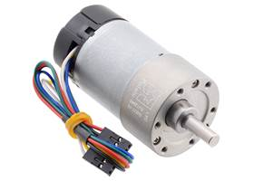 10:1 Metal Gearmotor 37Dx65L mm 12V with 64 CPR Encoder (Helical Pinion).