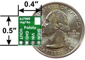 Pololu step-down voltage regulator D24V5Fx, bottom view with dimensions
