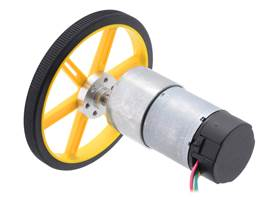 37D mm metal gearmotor with 64 CPR encoder connected to a Pololu 90×10mm wheel with a Pololu universal mounting hub.