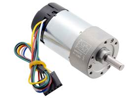 10:1 Metal Gearmotor 37Dx65L mm with 64 CPR Encoder (Helical Pinion).
