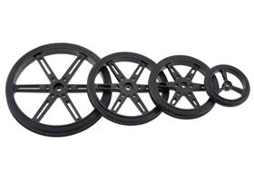 Black Pololu Wheels for Standard and Micro Servos – 90, 70, 60, and 40 mm diameters.