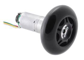 A 25D mm gearmotor connected to a 70 mm scooter/skate wheel using a 4 mm scooter wheel adapter