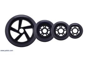 Black scooter/skate wheels with 144, 100, 84, and 70 mm diameters