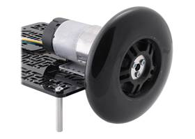 A 37D mm gearmotor connected to a 100 mm scooter/skate wheel using a 6 mm scooter wheel adapter