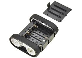 Pololu Zumo chassis kit, assembled bottom view with battery holder cover removed