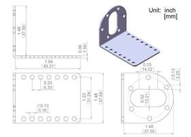 Pololu 37D mounting bracket dimensions