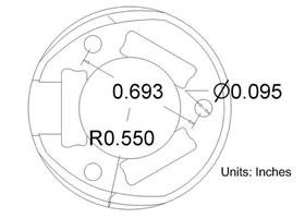 "1"" plastic ball caster top dimensions"
