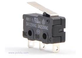 Snap-action switch with 16.7mm lever 3-pin, SPDT, 5A